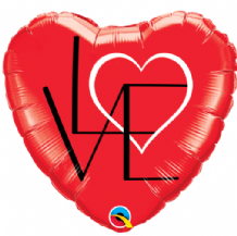 "L(Heart)VE Red Foil Balloon (18"") 1pc"